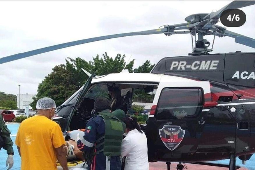 Com apoio de helicóptero, homem é socorrido em estado grave para hospital de João Pessoa após acidente de trânsito