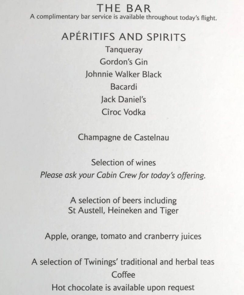 Carta bebidas business class regional British Airways