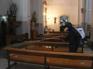 Desinfectaron ruta y templos por donde pasará El Nazareno (+video)