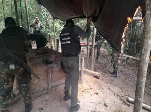 Located and destroyed criminal group camp in Bolívar