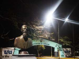 Lighting on the road leading to the University of Carabobo is reactivated