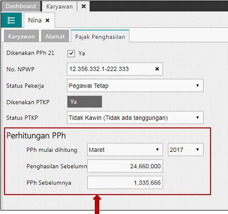 Pengisian Informasi PPh 21 Karyawan Sebelumnya