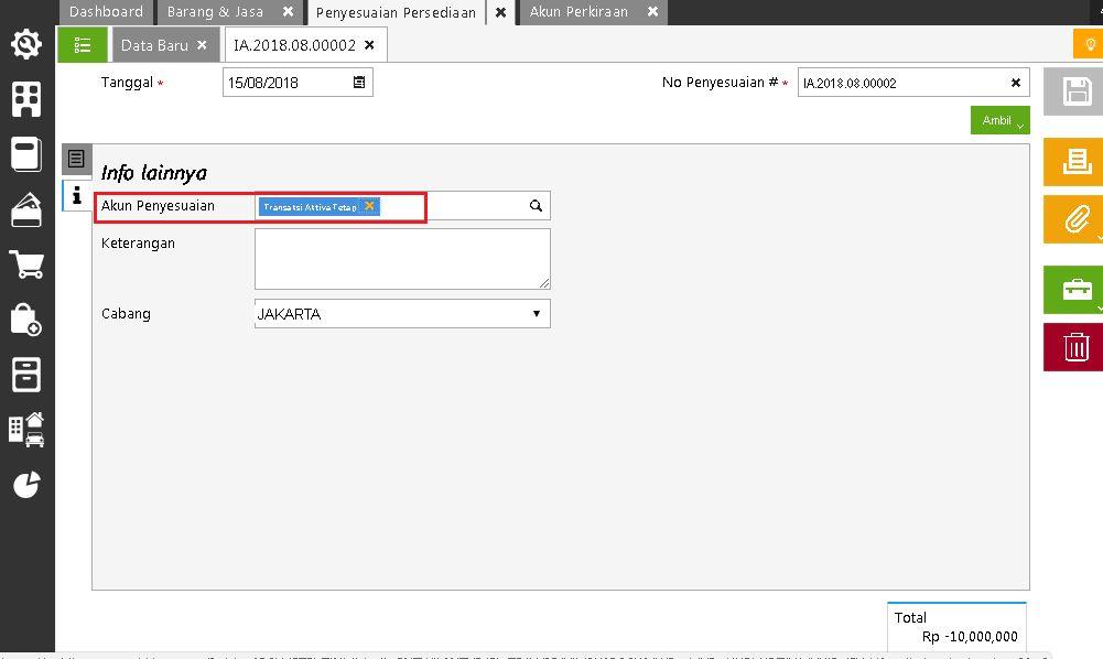 Memilih Akun Perantara pada Tab Info Lain Formulir Penyesuaian Persediaan