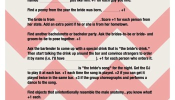 Bachelorette Games Bar Scavenger Hunt