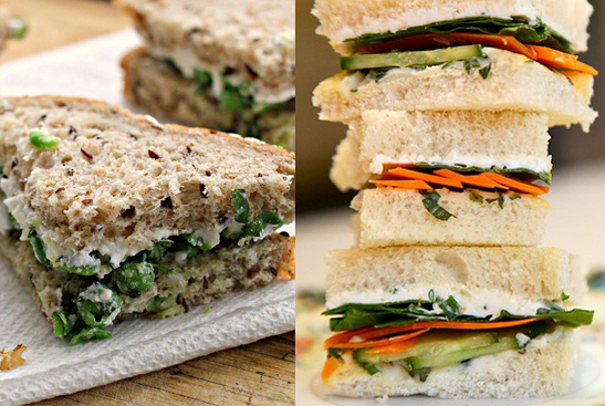 gingered pea and green goddess sandwiches