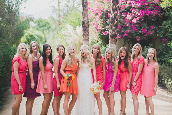 rose and coral bridesmaid dresses