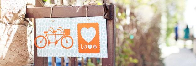 an orange and aqua backyard bridal shower
