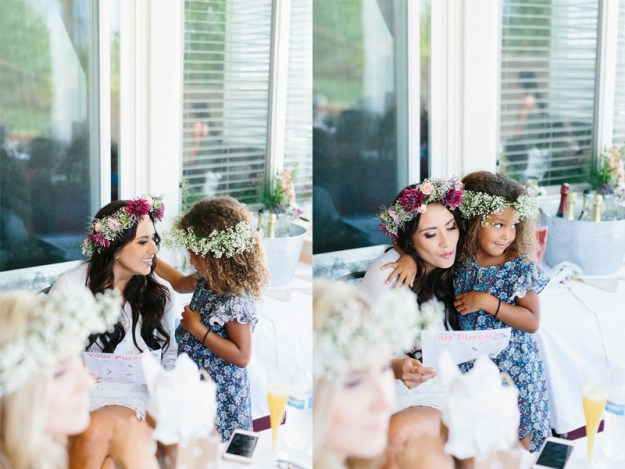 A Flower Crowns & Champagne Backyard Bridal Shower | Ultimate Bridesmaid | Dulcet Creative | Bride and flower girl