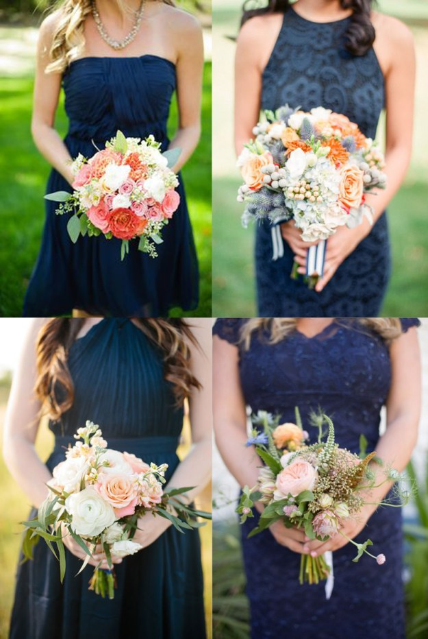 Frock + Florals // Neutral Navy. Pair navy bridesmaid dresses with all-white blooms for a classic nautical vibe, mix in oranges for a quirky modern feel or choose pastel pinks for a more elegant, formal look.