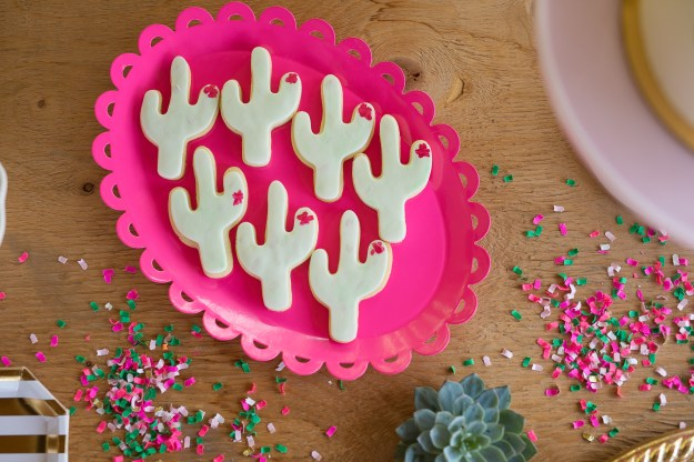Cactus cookies. A Pink and Gold Fiesta Bridal Shower | Ultimate Bridesmaid | Christy D Swanberg Photography