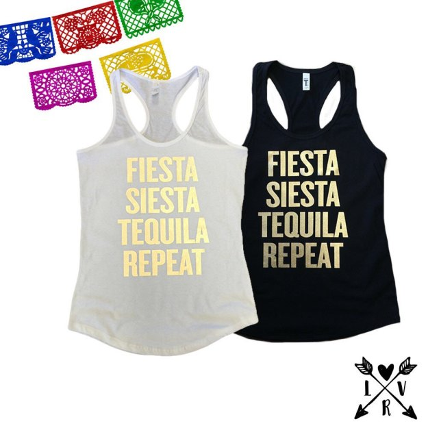 Fiesta siesta tequila repeat bachelorette party tanks