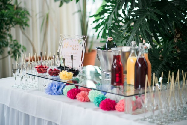 Mimosa bar. A Sweet Garden Bridal Shower | Ultimate Bridesmaid | Kathryn Hyslop Photography