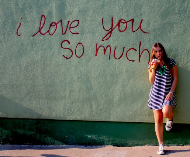Austin bachelorette to-do: Stop for a photo op at the I Love You So Much wall while shopping on South Congress Street. Click for more Austin bachelorette weekend ideas.