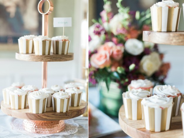 Red velvet cupcakes for a bridal shower. A Gold and Blush Bridal Shower | Ultimate Bridesmaid | Anne Molnar Photography