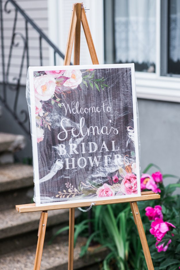Garden bridal shower chalkboard sign. A Roses and Mimosas Bridal Shower Brunch | Ultimate Bridesmaid | Alisha Maria Photography