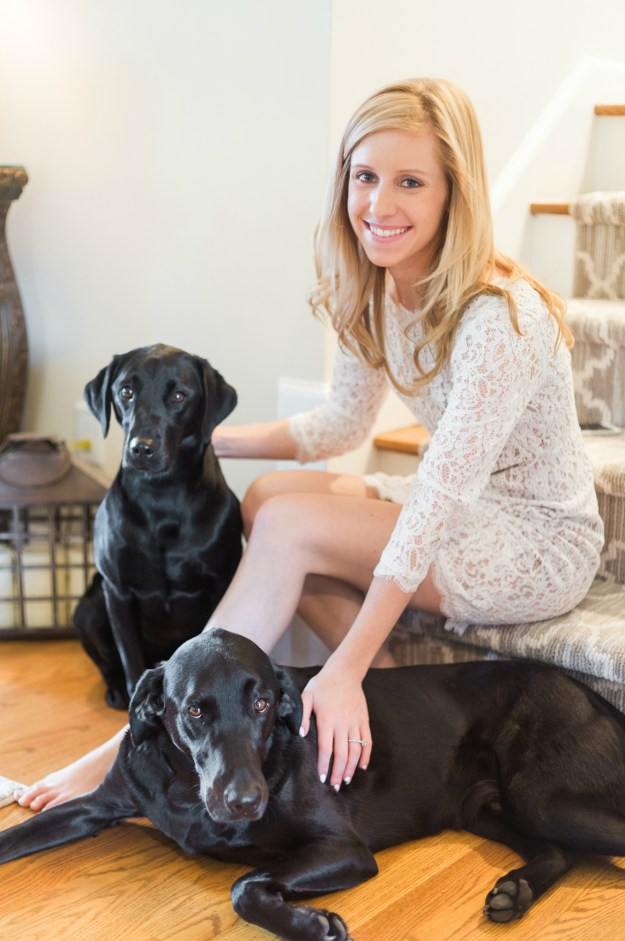The bride-to-be and her black labs! A Gold and Blush Bridal Shower | Ultimate Bridesmaid | Anne Molnar Photography