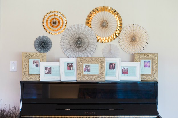A display to get to know the bridesmaids at the bridal shower. A Gold and Blush Bridal Shower   Ultimate Bridesmaid   Anne Molnar Photography