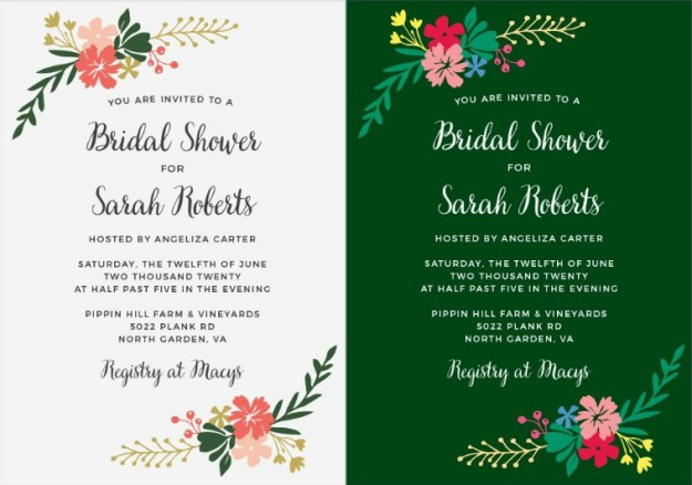 Completely custom bridal shower invitations from Basic Invite. The invitation on the left is the original and you can see every element has been customized on the right! Perfect for a garden party bridal shower or tropical bridal shower. Click for more inspiration.