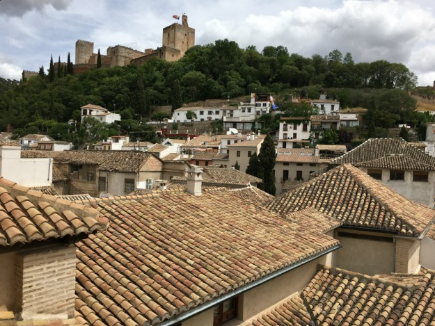 A view of the Alhambra from our hotel, Casa 1800. We spent two days in Granada as part of our 10-day honeymoon in Spain. Click to see our full Granada travel guide.