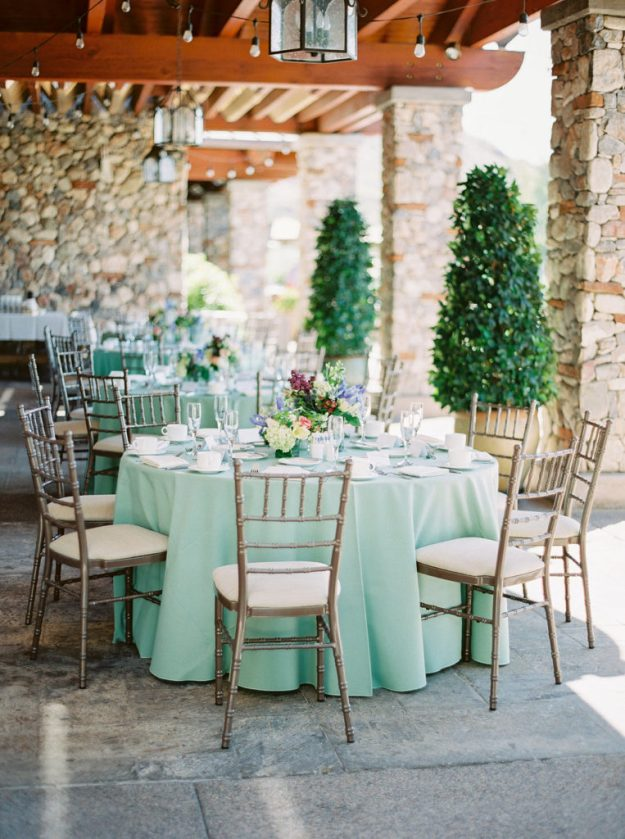Mint green table setting for a bridal shower. An Around the Clock Bridal Shower with a Twist | Ultimate Bridesmaid | Elyse Hall Photography