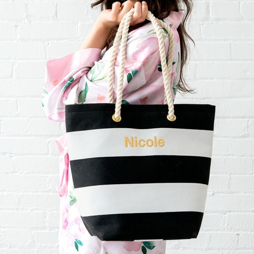 Bridesmaid Gifts Under $30: Personalized striped tote with rope handle