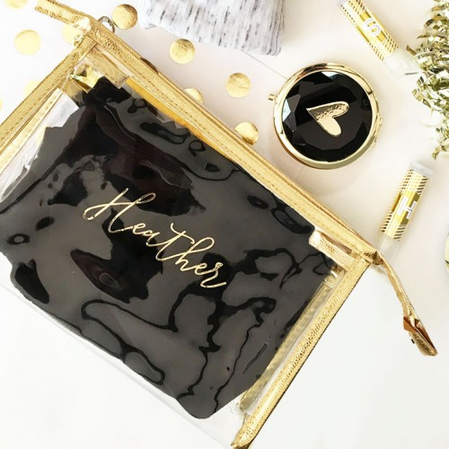 Bridesmaid Gifts Under $30: Personalized cosmetics bag with gold details