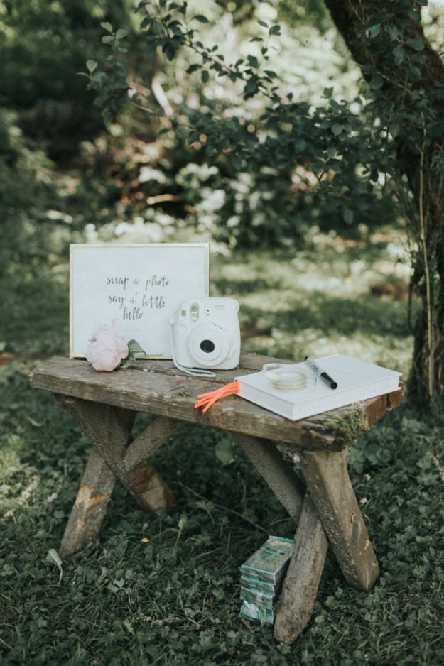 Use a Fujifilm Instax to create an instant photo booth and a personalized guestbook for your bridal shower. A Bohemian Bridal Shower in the Garden | Ultimate Bridesmaid | Alyssa Wilcox Photography