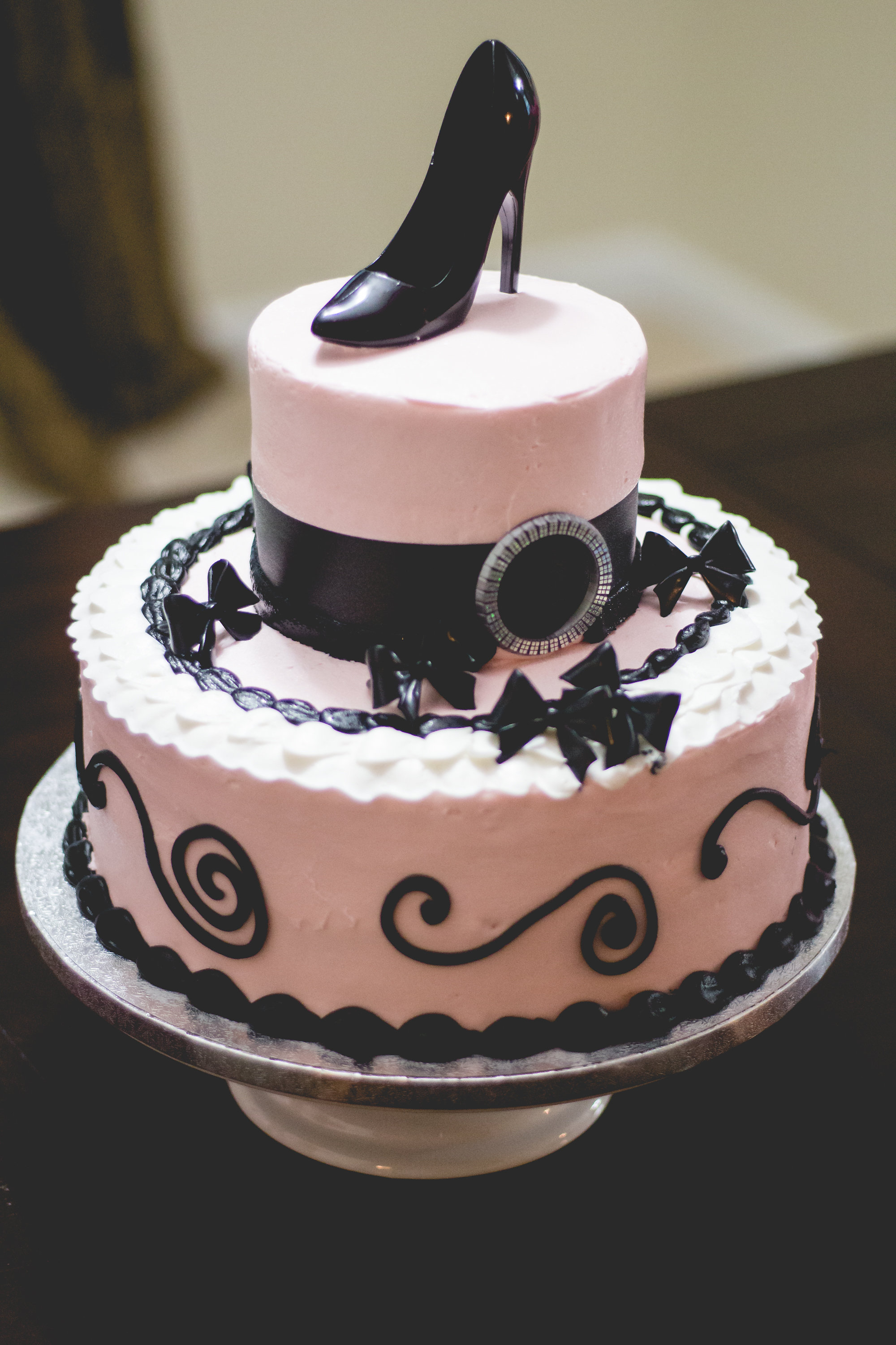 24f0674bc8e ... Pink and black stiletto cake for a lingerie shower. A Lingerie   Painting  Party Bridal ...