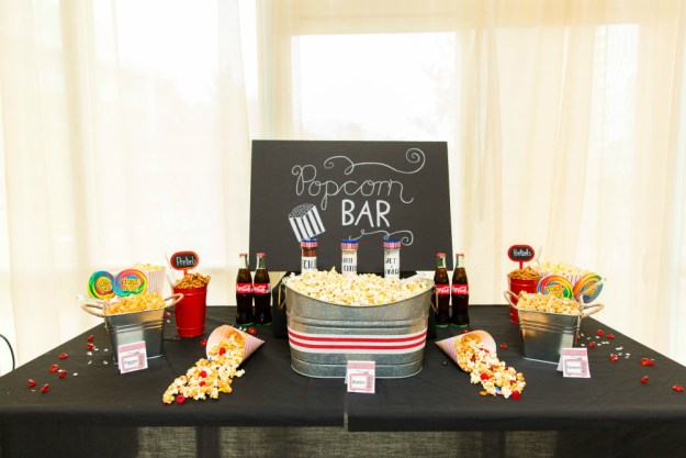 Popcorn bar. A Netflix and Chill Bridal Shower | Ultimate Bridesmaid | Photography by Azra