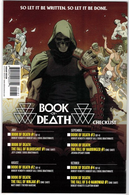 Book of Death #1 1:60 Paolo Rivera Character Variant Valiant 2015 VF/NM