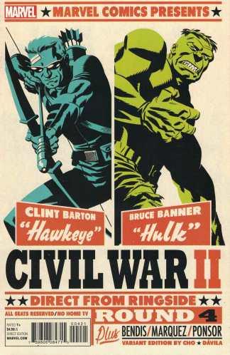 Civil War II #4 Michael Cho Variant Marvel ANAD 2016 Hulk Hawkeye