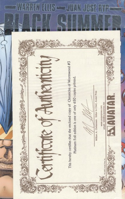 Chronicles of Wormwood #3 Platinum Foil Variant w/ COA Sealed Polybag Limit 650