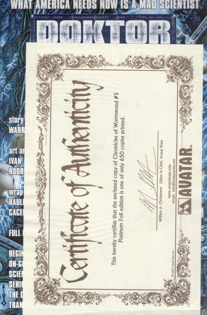 Chronicles of Wormwood #5 Platinum Foil Variant w/ COA Sealed Polybag Limit 650
