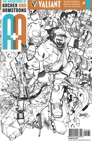 A&A Adventures of Archer and Armstrong #1 1:50 Lafuente B&W Variant Valiant