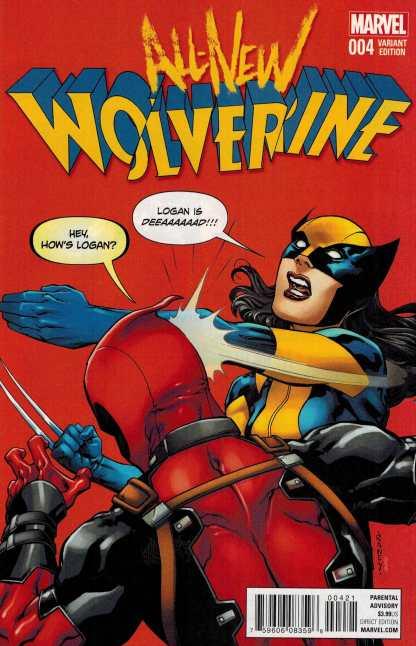 All New Wolverine #4 1:10 Raney Deadpool Variant Marvel ANAD 2015