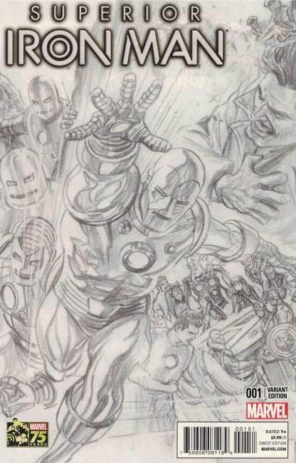 Superior Iron Man #1 1:300 Alex Ross Sketch Variant Marvel 2014