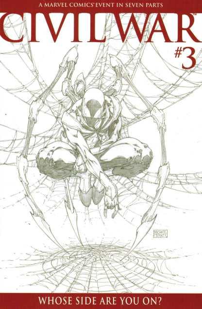 Civil War #3 1:75 Michel Turner Sketch Variant Cover Iron Spider