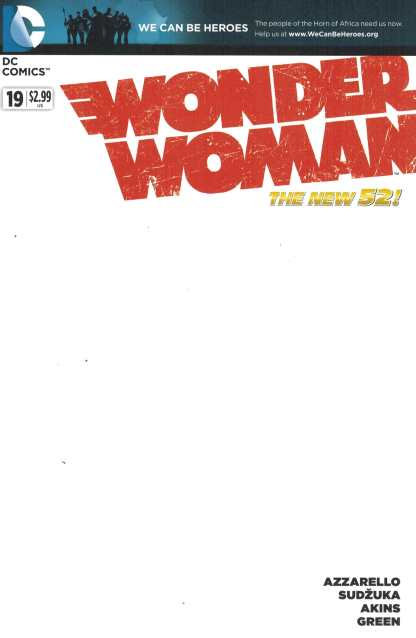 Wonder Woman #19 Blank Sketch Variant We Can Be Heroes DC New 52 2011 Azzarello