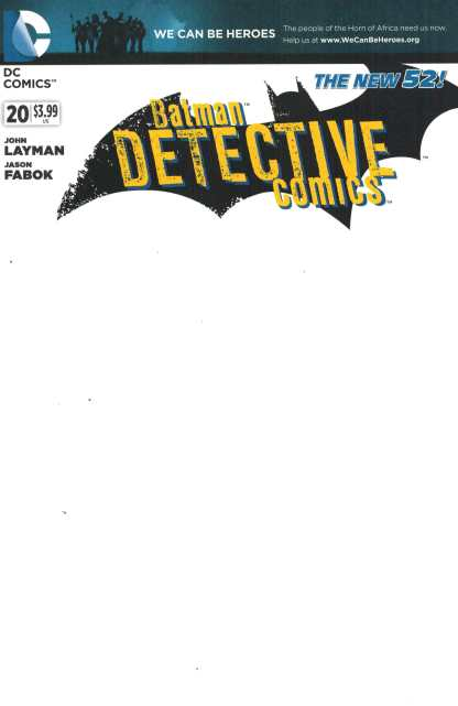 Detective Comics #20 Blank Variant Cover We Can Be Heroes New 52 2011