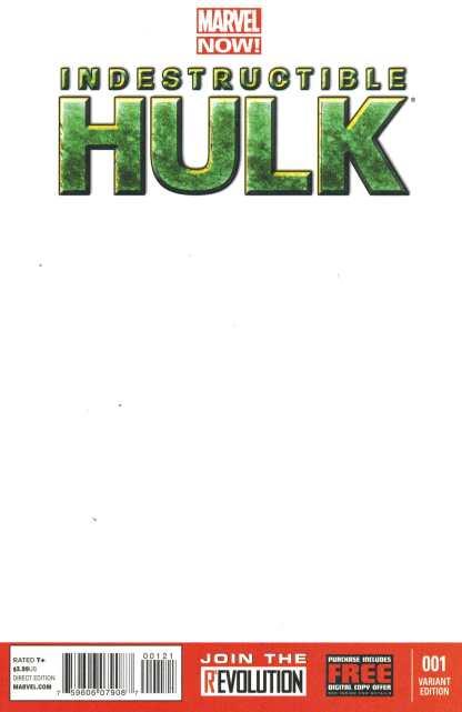 Indestructible Hulk #1 Blank Sketch Variant Cover Marvel NOW 2012