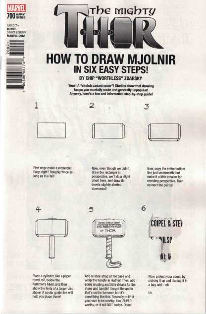 Mighty Thor #700 Chip Zdarsky How to Draw Misprint Spider-Gwen Back Cover HTF!