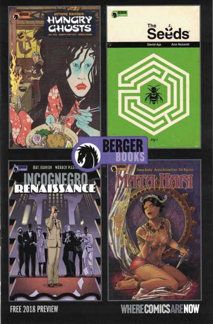 Berger Books Ashcan Preview 2018 Hungry Ghosts, The Seeds, Incognegro, Mata Hari