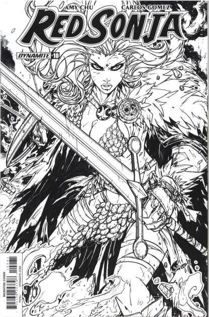 Red Sonja #10 1:30 Jonboy Meyers Black & White Variant Dynamite 2017