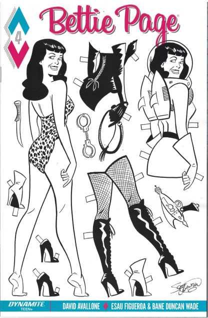 Bettie Page #4 1:10 Scott Chantler B & W Paper Doll Variant Dynamite 2017