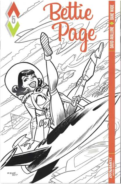 Bettie Page #5 1:10 J. Bone Black & White Variant Dynamite 2017