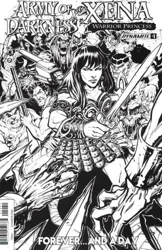 AOD Xena Forever and a Day #1 1:10 B&W Sketch Variant Army of Darkness