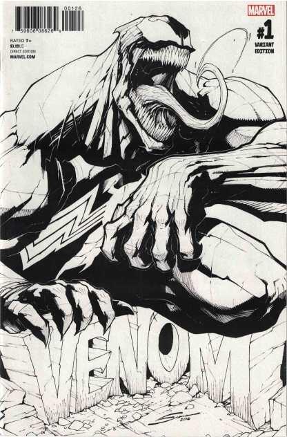 Venom #1 Gerardo Sandoval B&W Sketch UK Exclusive Variant Marvel 2016