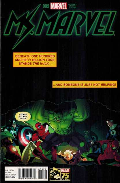 Ms Marvel #9 75th Anniversary Deadpool Variant ANMN