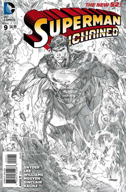 Superman Unchained #9 1:100 Jim Lee Black and White Sketch Wrap Variant DC 2013