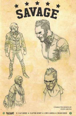 Savage #2 1:10 Lewis Larosa Character Design Variant Cover D Valiant 2016